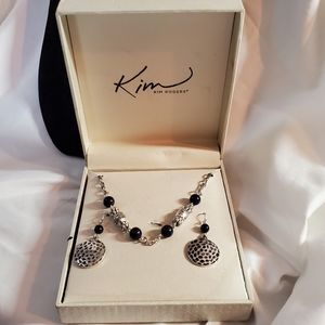 Kim Roger's Silvertone and Navy Necklace Set